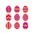 happy easter collection of easter eggs with vector image