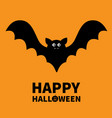 happy halloween bat flying black silhouette icon vector image