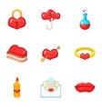 Happy Valentine Day icons set cartoon style vector image vector image