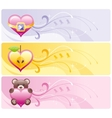 Happy Valentines day hearts banner set Apple vector image vector image