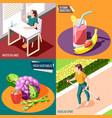 healthy lifestyle 2x2 design concept vector image vector image