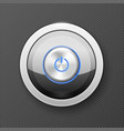 illuminated power button icon - off-on knob metal vector image vector image