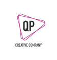 initial letter qp triangle design logo concept vector image vector image