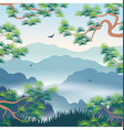 landscape with foggy mountains and korean pine vector image