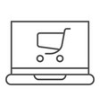 laptop with cart thin line icon online shopping vector image vector image