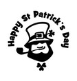leprechaun face logo with hat pipe and clover vector image vector image