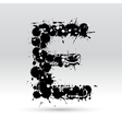 Letter E formed by inkblots vector image vector image