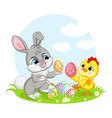 little cute funny characters chicken and rabbit vector image