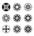 Mandala elements tattoo icon set Aster star vector image vector image
