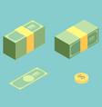 money isometric icon set vector image vector image