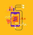 music phone app cartoon with headphones isolated vector image