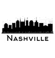 Nashville City skyline black and white silhouette vector image vector image