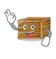 okay crate character cartoon style vector image vector image