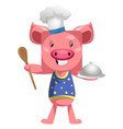 pig in chef outfit on white background vector image