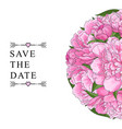 pink peony bouquet in round shape isolated on vector image