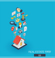 real estate integrated 3d web icons growth and vector image vector image