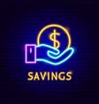 savings money neon label vector image vector image