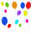 set of beautiful colored balloons with ropes vector image