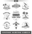 Set of vintage surfing labels Vol1 vector image