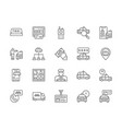 set taxi line icons truck delivery cabbie vector image