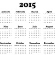 Simply Classic Calendar for 2015 Year Background vector image
