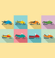 snowmobile icon set flat style vector image vector image