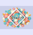 spring seasonal floral poster paper cut vector image vector image