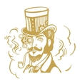 Steampunk man in top hat and glasses with the vector image vector image
