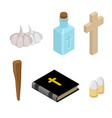 Stop Dracula Set of tools for extermination of vector image