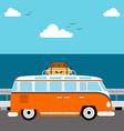 Summer concept vacation beach and sea flat design vector image vector image