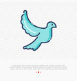 thin line icon of flying dove sign of love vector image