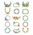 wreath wreathed flowers and floral vector image vector image