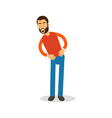 young happy bearded man in red pullover standing vector image vector image