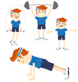 Set of Hipster funny sportsmen doing exercises vector image