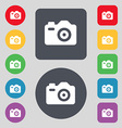 Photo Camera icon sign A set of 12 colored buttons vector image