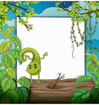A dancing chameleon and a white board vector image vector image