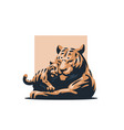 a tigress with her tiger cub vector image vector image