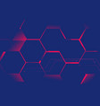 abstract blue hexagons with pink light futuristic vector image