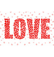 abstract word love of little red hearts vector image vector image