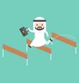 arab business man jump over hurdle flat design