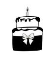 Birthday black cake on white background vector image vector image