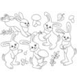 Black And White Rabbits Set vector image vector image