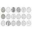 black lineart hand drawn easter eggs decorative vector image vector image