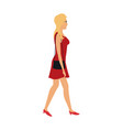 blonde woman walking with red dress and purse bag vector image