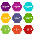 brass trumpet icon set color hexahedron vector image vector image