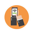 business hands holding phone with wifi icon vector image