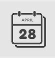 calendar day 28 april days year vector image vector image