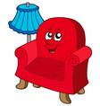 cartoon armchair with lamp vector image