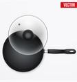 classic metal black non-stick frying pan vector image vector image