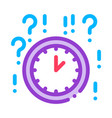 clock and question mark icon outline vector image